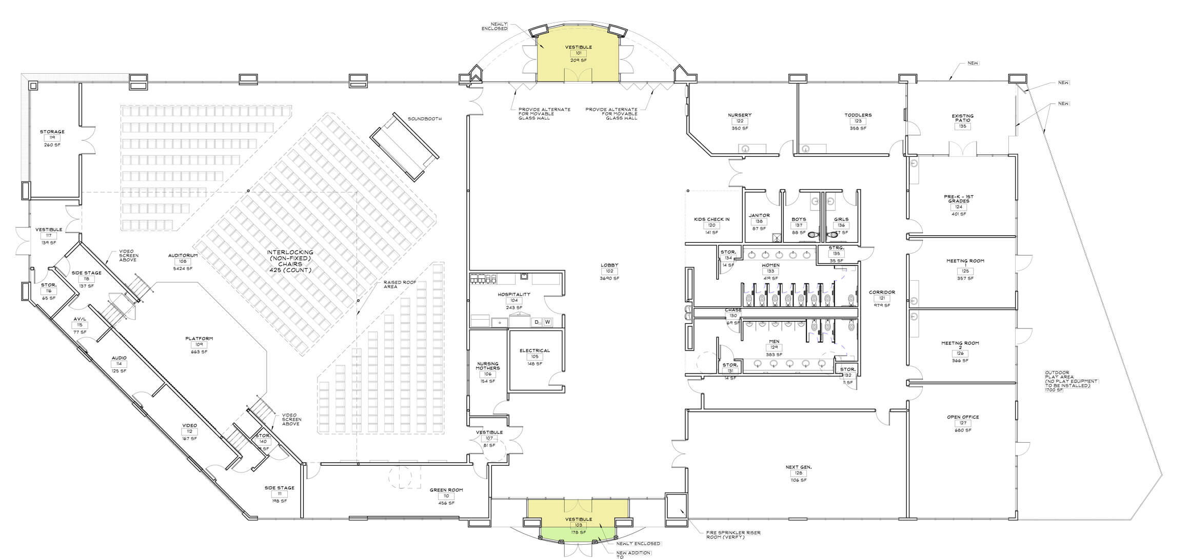 proposed floor plan of new blue oaks church building